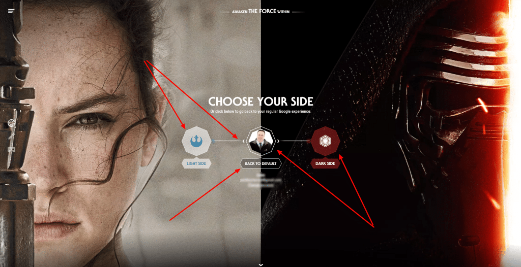 Star Wars Screen where you can more your avatar to a neutral position
